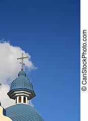 藍色,  cupola, 在上方, 天空, 產生雜種, 多雲, 教堂