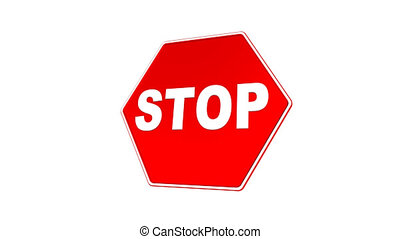 Stop Sign Loop with Matte - Road sign with STOP text flying...