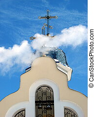 Church Crosses inside white cloud on blue sky background 13