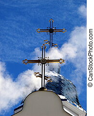 Church Crosses inside white cloud on blue sky background 03