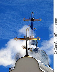 Church Crosses inside white cloud on blue sky background 05