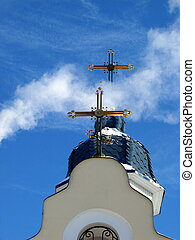 Church Crosses inside white cloud on blue sky background 06