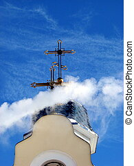 Church Crosses inside white cloud on blue sky background 09