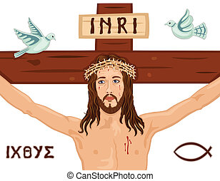 Easter Crucifixion on the Cross - Religious Easter card with...