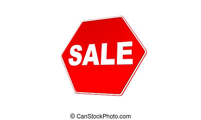 Sale Sign Loop with Matte - Road sign with SALE text flying...