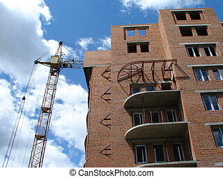 Building of multilevel apartments constructio