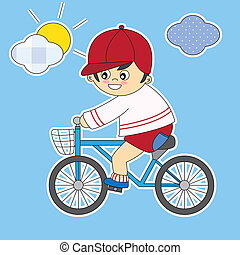 child on a bicycle. Room boy Stickers