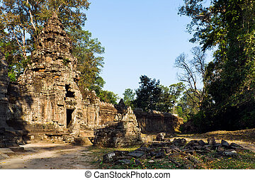 "Back of ""Gopura"" Left entrance pavilion tower, Preah Khan,..."