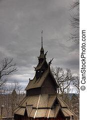 Stave church 3 - A picture of a stave church in Bergen,...