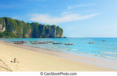 Ao Nang Beach - Ao Nang beach with boats, in Krabi, Thailand