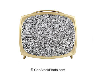 1950s Vintage Television with Static Screen - 1950s vintage...