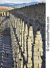 The aqueduct and ancient Segovia in spring day - The...