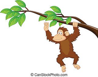 Chimpanzee Cartoon - Vector Illustration Of Chimpanzee...