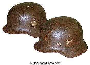 Alemán, fascista, cascos, WW2