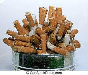 Metal ashtray full with cigarette butt garbage pile