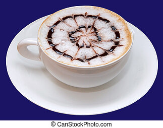 isolated cup of capuccino coffee decorated with brown hot chocolate net on white foam