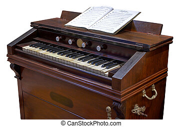 antique foot-propelled reed-organ or clavier