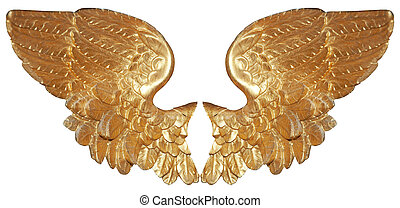 Isolated golden angel wings