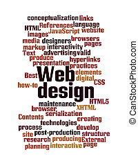 Web Design word cloud isolated - Word Cloud Illustration of...
