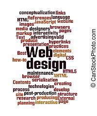 web, design, Wort, Wolke, Freigestellt