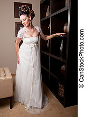 bride at hotel reception - beautiful young brunette bride at...