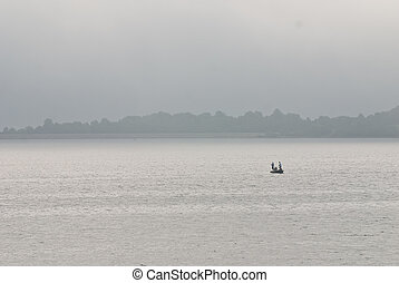 pescadores, solamente, Niebla