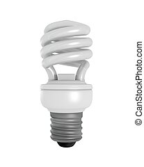 Isolated CFL Bulb - 3D Rendered CFL Light Bulb on a White...