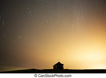 Night Shot Star Trails in Saskatchewan Canada