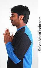 Photo of youth praying with white background