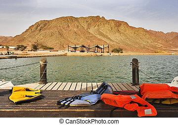 Boat mooring in park Timna - Boat mooring in small lake in...