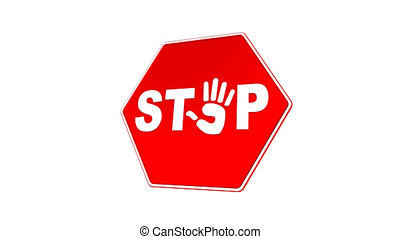 Stop - Hand Sign Loop with Matte - Road sign with stylized...