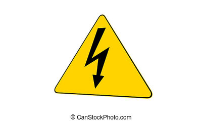 High Voltage Sign (Loop with Matte) - Road sign with high...