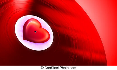 Love Tune Red Loop - Gramophone record playing love melody...
