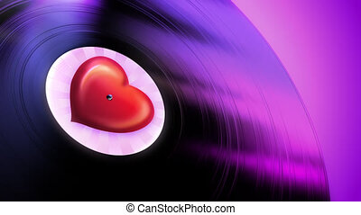 Love Tune Loop - Gramophone record playing love melody in...