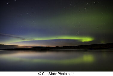 Night Shot Northern Lights Saskatchewan Canada