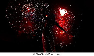 dancing woman and fire works