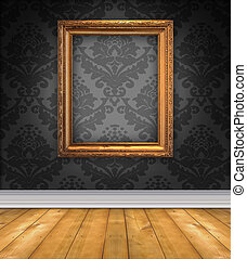 Damask Room With Empty Picture Frame