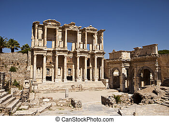Library Of Celsus at Ephesus - The front facade and...