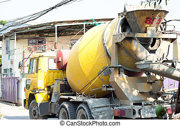 Cement mixer truck for new building