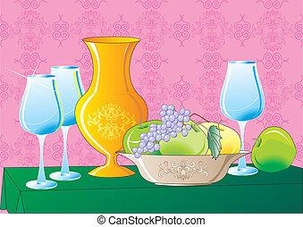 Still Life - Vector image of still life consisting of vases,...