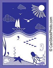 Waterscape - Vector illustration depicting the marine world.