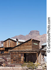 Vintage Mining Ghost Town - Desert ghost town buildings from...