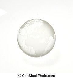 Shiny Silver Earth Globe