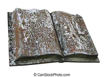 Ancient marble opened book tombstone