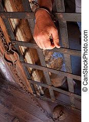 Locked in vertical - a man's hand is shackled to a vintage...