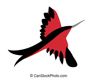red  bird on white background