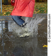 Rainy weather - Jumping in a pool of water