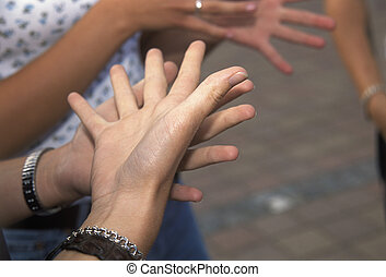 Sign Language - Group of people using sign Language