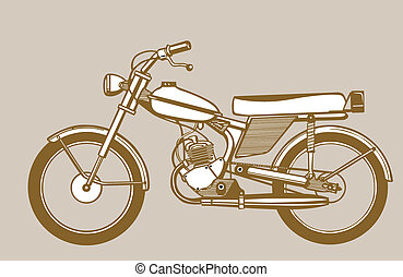 moped silhouette on brown background,