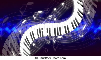 Music Notes and Keys in blues Looping Animated Background